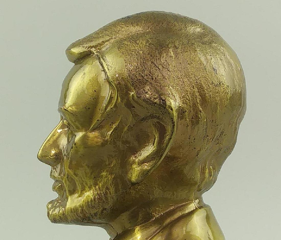 PAIR OF BRASS CAST METAL BUSTS OF ABRAHAM LINCOLN - 7