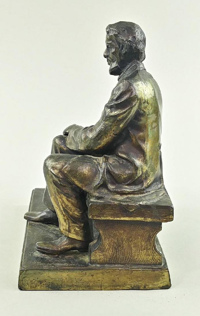 VINTAGE BRASS FIGURE OF LINCOLN SEATED ON A BENCH - 5
