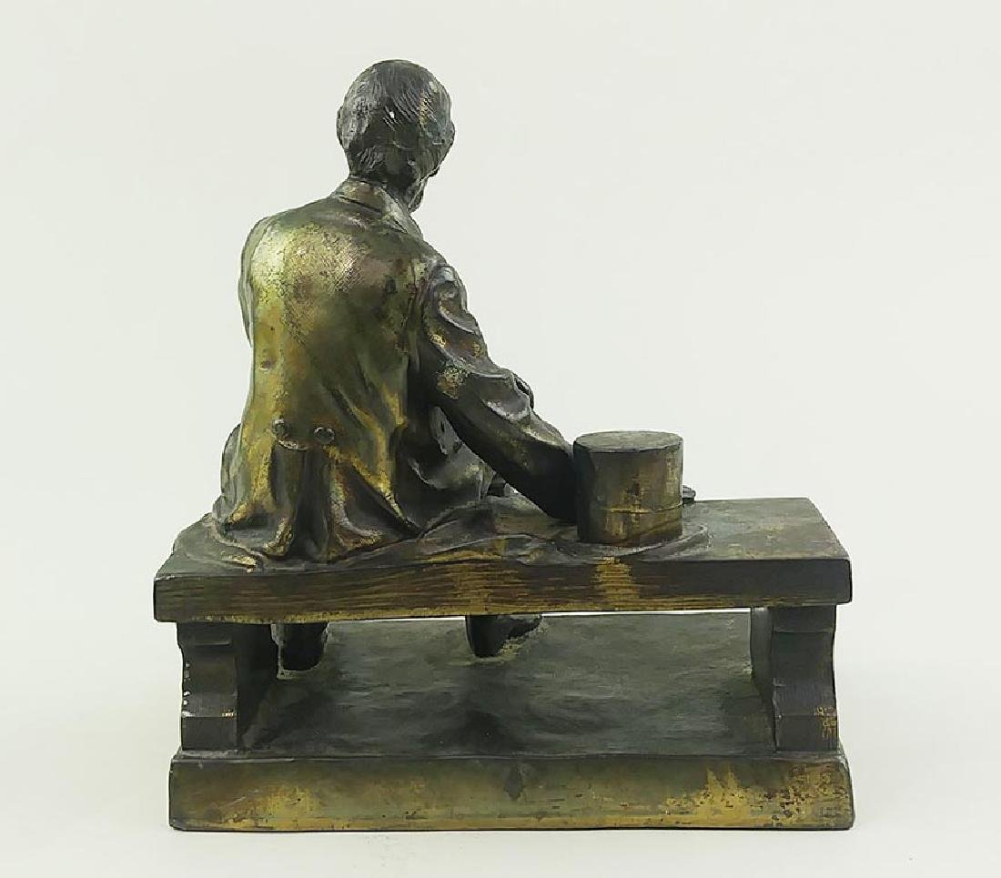 VINTAGE BRASS FIGURE OF LINCOLN SEATED ON A BENCH - 7
