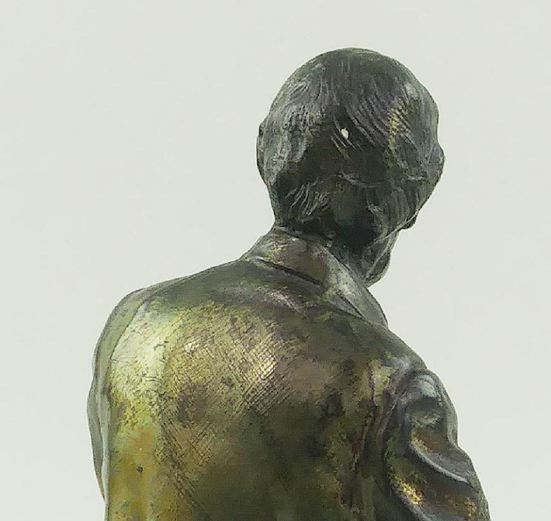 VINTAGE BRASS FIGURE OF LINCOLN SEATED ON A BENCH - 8