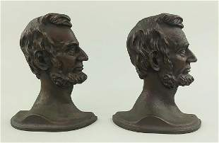 PAIR PATINATED CAST METAL BOOKENDS, LINCOLN IN PROFILE