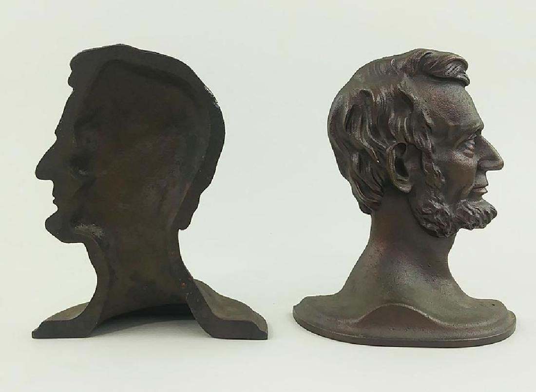 PAIR PATINATED CAST METAL BOOKENDS, LINCOLN IN PROFILE - 2