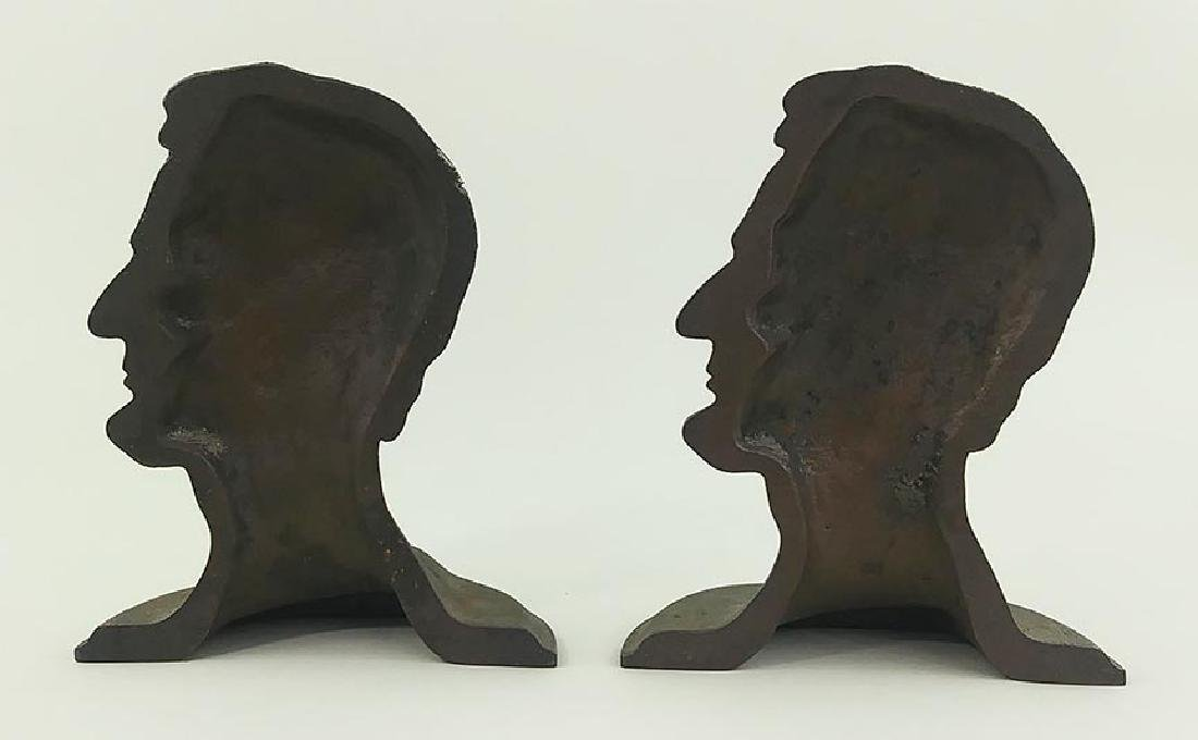 PAIR PATINATED CAST METAL BOOKENDS, LINCOLN IN PROFILE - 3