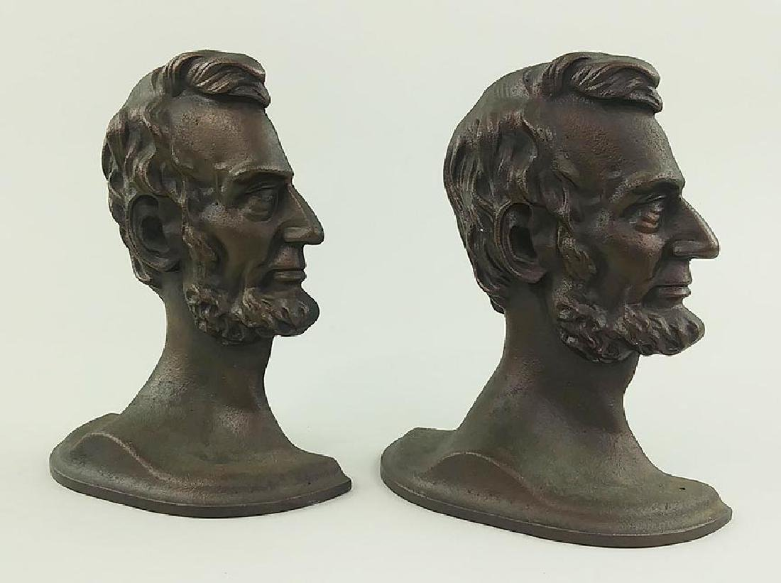 PAIR PATINATED CAST METAL BOOKENDS, LINCOLN IN PROFILE - 4