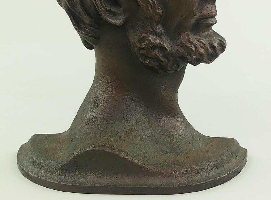 PAIR PATINATED CAST METAL BOOKENDS, LINCOLN IN PROFILE - 5