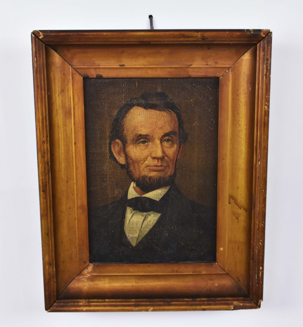 CHROMOLITHOGRAPH ON CANVAS OF ABRAHAM LINCOLN