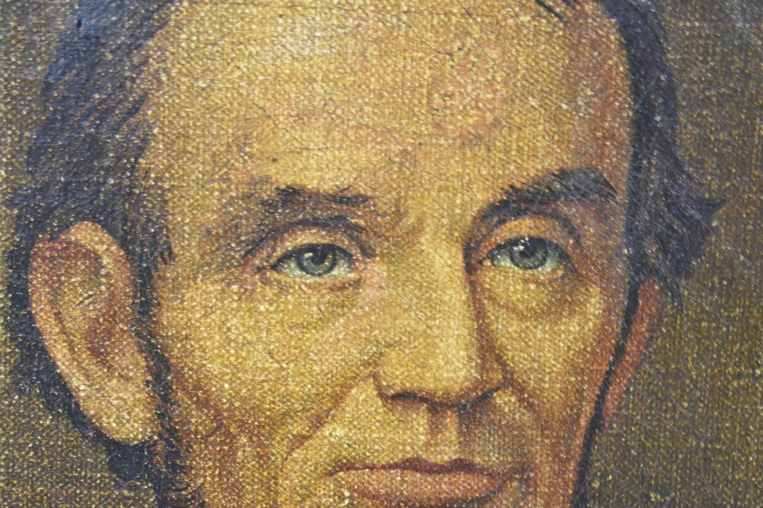 CHROMOLITHOGRAPH ON CANVAS OF ABRAHAM LINCOLN - 4