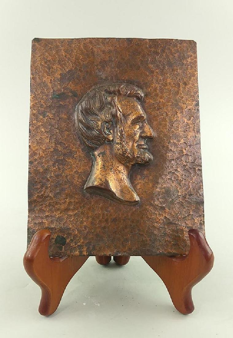 COPPER PLAQUE OF LINCOLN IN PROFILE