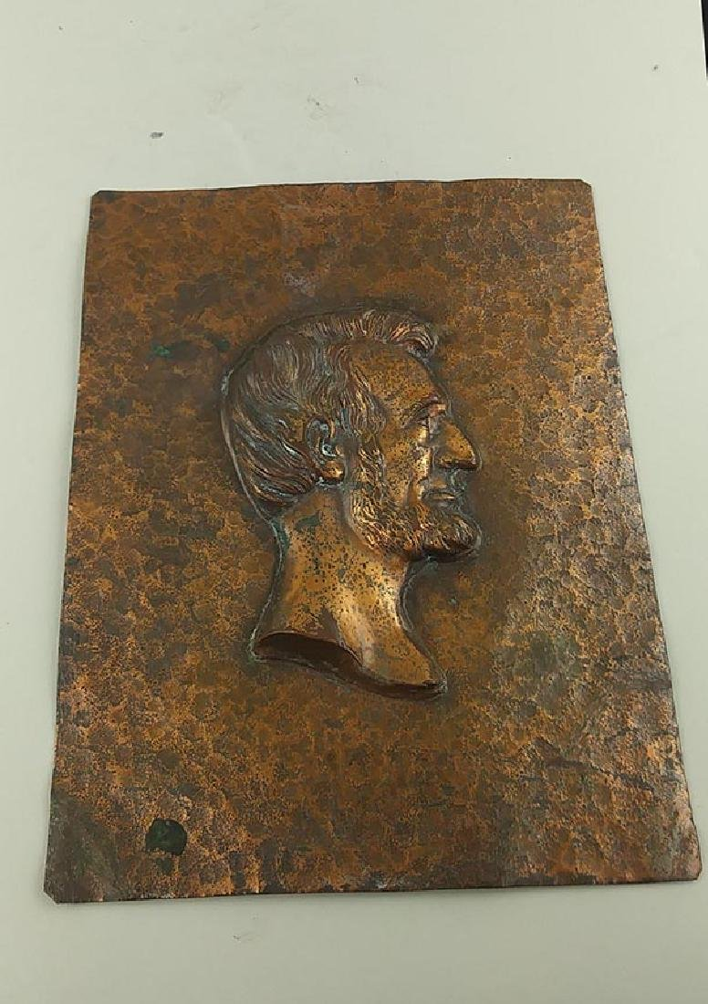 COPPER PLAQUE OF LINCOLN IN PROFILE - 3