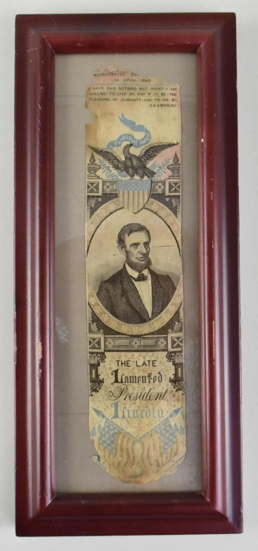 STEVENSGRAPH SILK RIBBON, THE LATE LAMANTED PRESIDENT