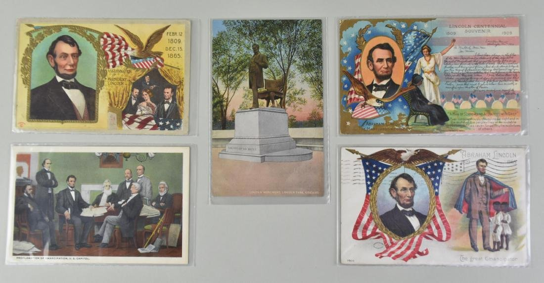 FIVE ABRAHAM LINCOLN SUBJECT MATTER POST CARDS