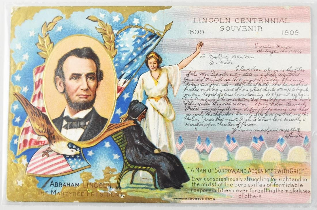 FIVE ABRAHAM LINCOLN SUBJECT MATTER POST CARDS - 9