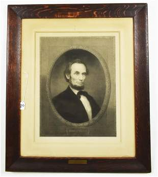 LARGE 19TH C. PHOTOGRAVUE OF ABRAHAM LINCOLN