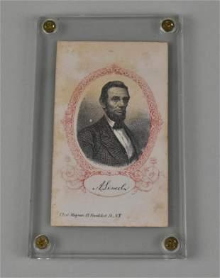 RARE CDV OF LINCOLN, MEMORIAL ENGRAVING, CHAS. MAGNUS