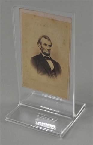 LINCOLN PORTRAIT, TAKEN IN BRADY STUDIO, 1864, CDV