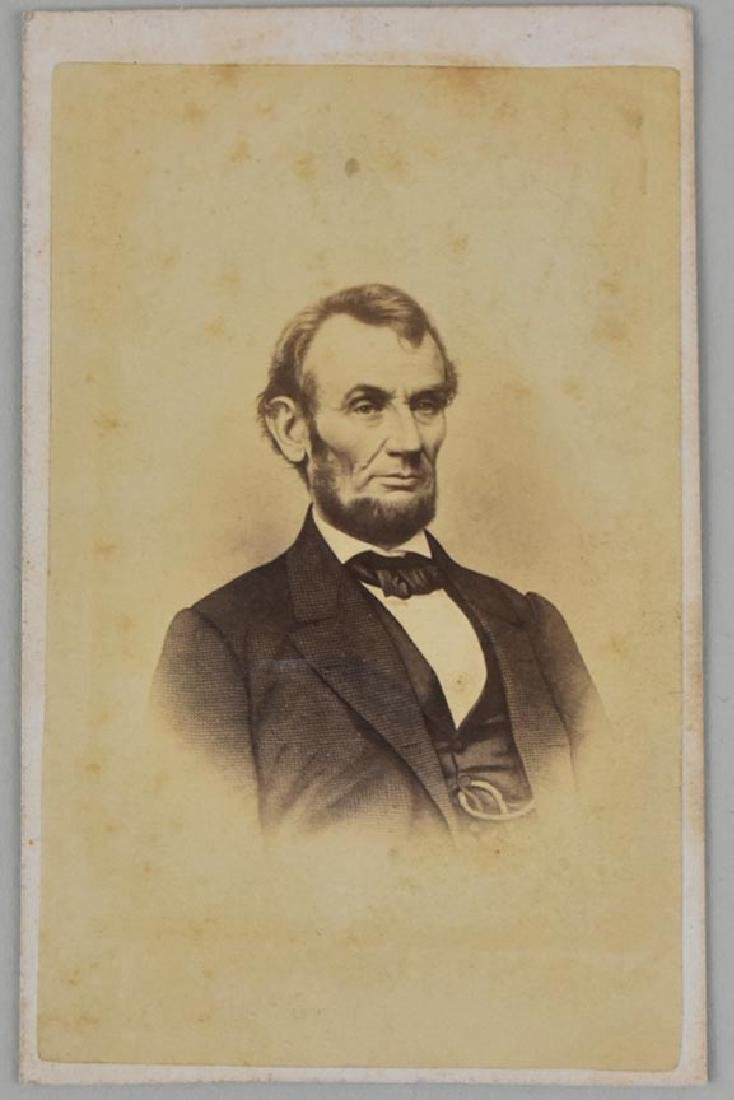 LINCOLN PORTRAIT, TAKEN IN BRADY STUDIO, 1864, CDV - 2
