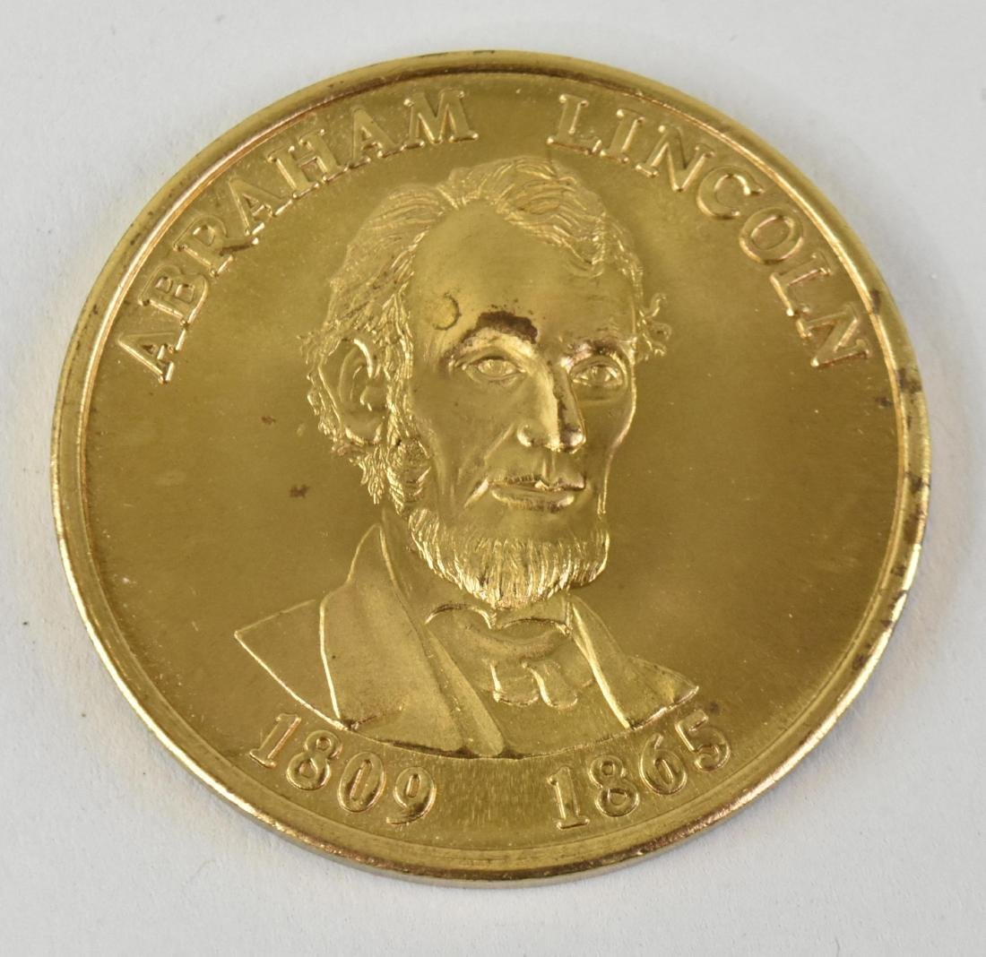 LINCOLN GOLD TONED COMMEMORATIVE PRESIDENTIAL MEDAL