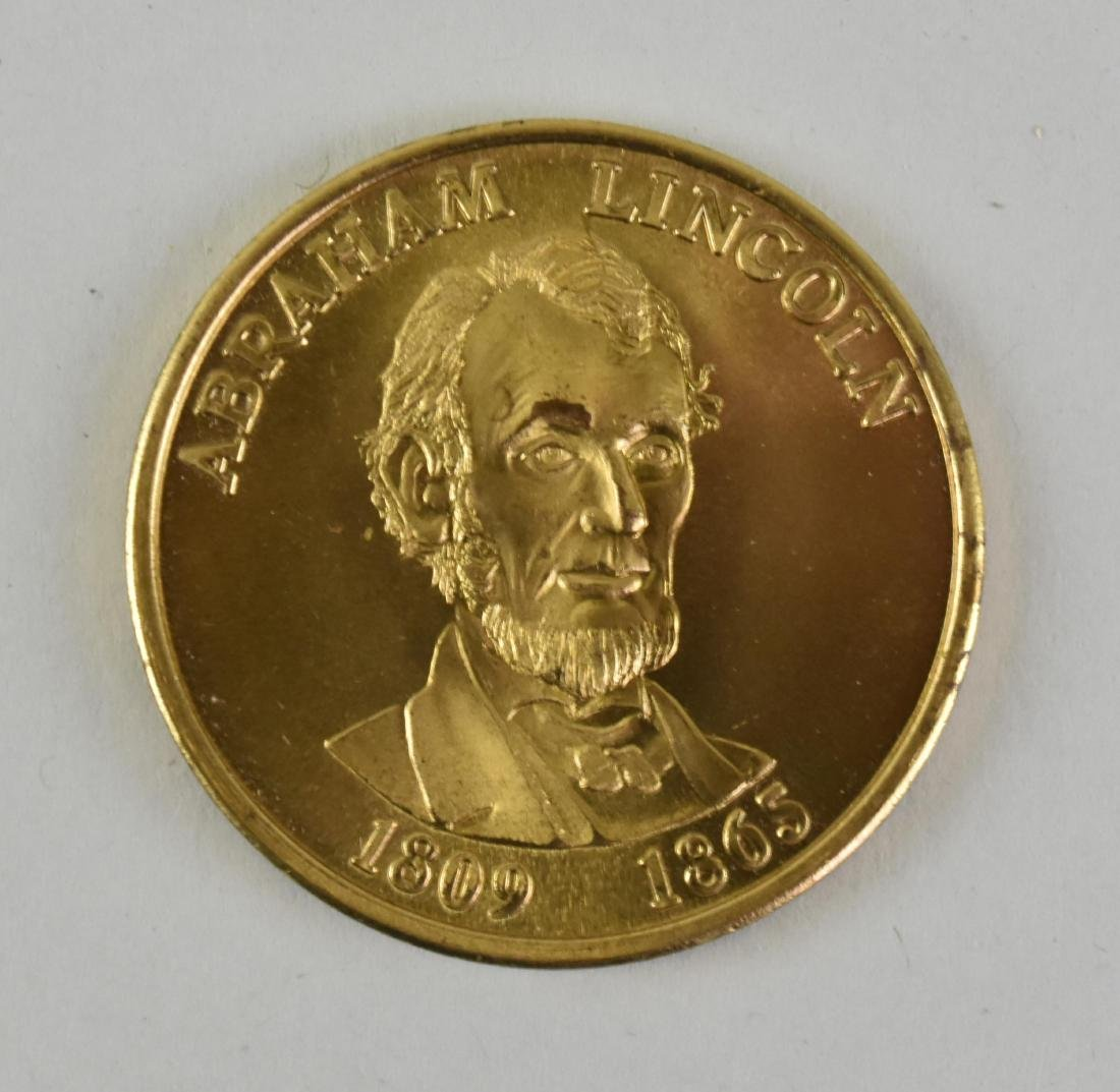 LINCOLN GOLD TONED COMMEMORATIVE PRESIDENTIAL MEDAL - 2