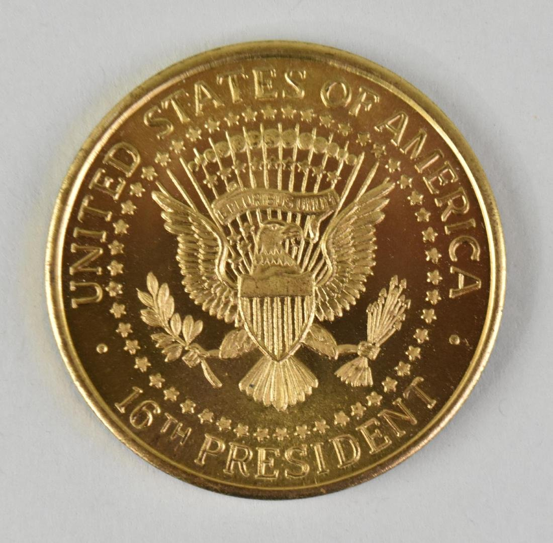 LINCOLN GOLD TONED COMMEMORATIVE PRESIDENTIAL MEDAL - 3