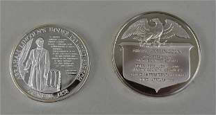LINCOLN STERLING SILVER MEDAL W/ ANOTHER LINCOLN MEDAL