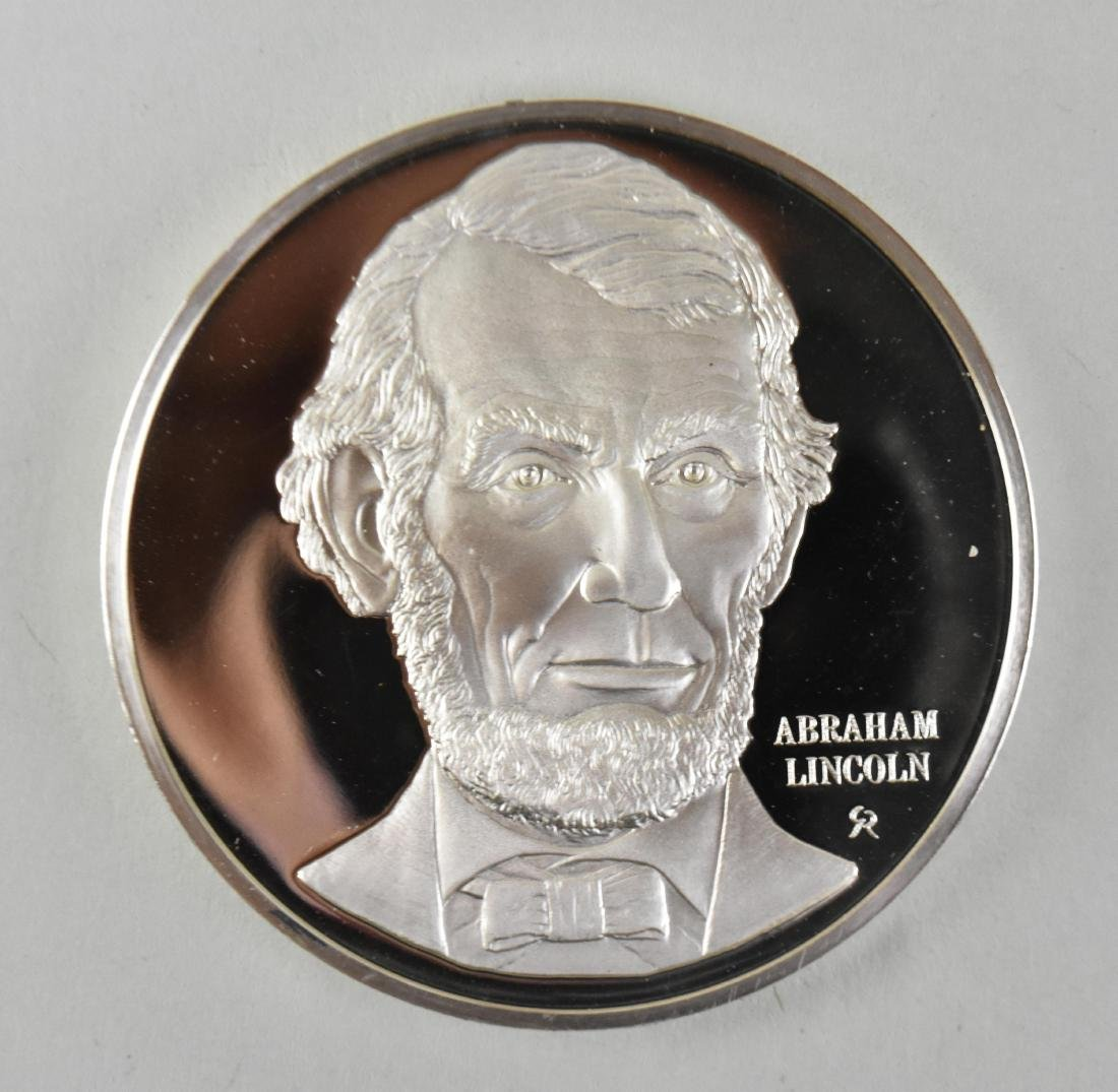 LINCOLN STERLING SILVER MEDAL W/ ANOTHER LINCOLN MEDAL - 3