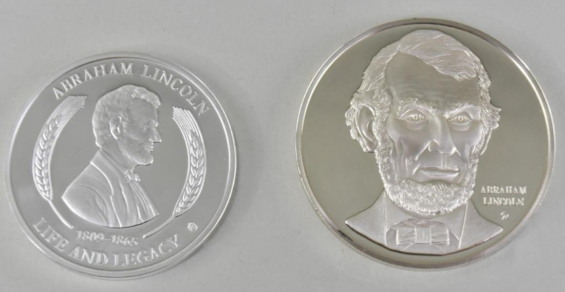 LINCOLN STERLING SILVER MEDAL W/ ANOTHER LINCOLN MEDAL - 7
