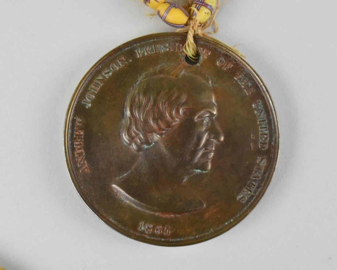 ANDREW JOHNSON INDIAN PEACE MEDAL W/ TRADE BEADS - 3