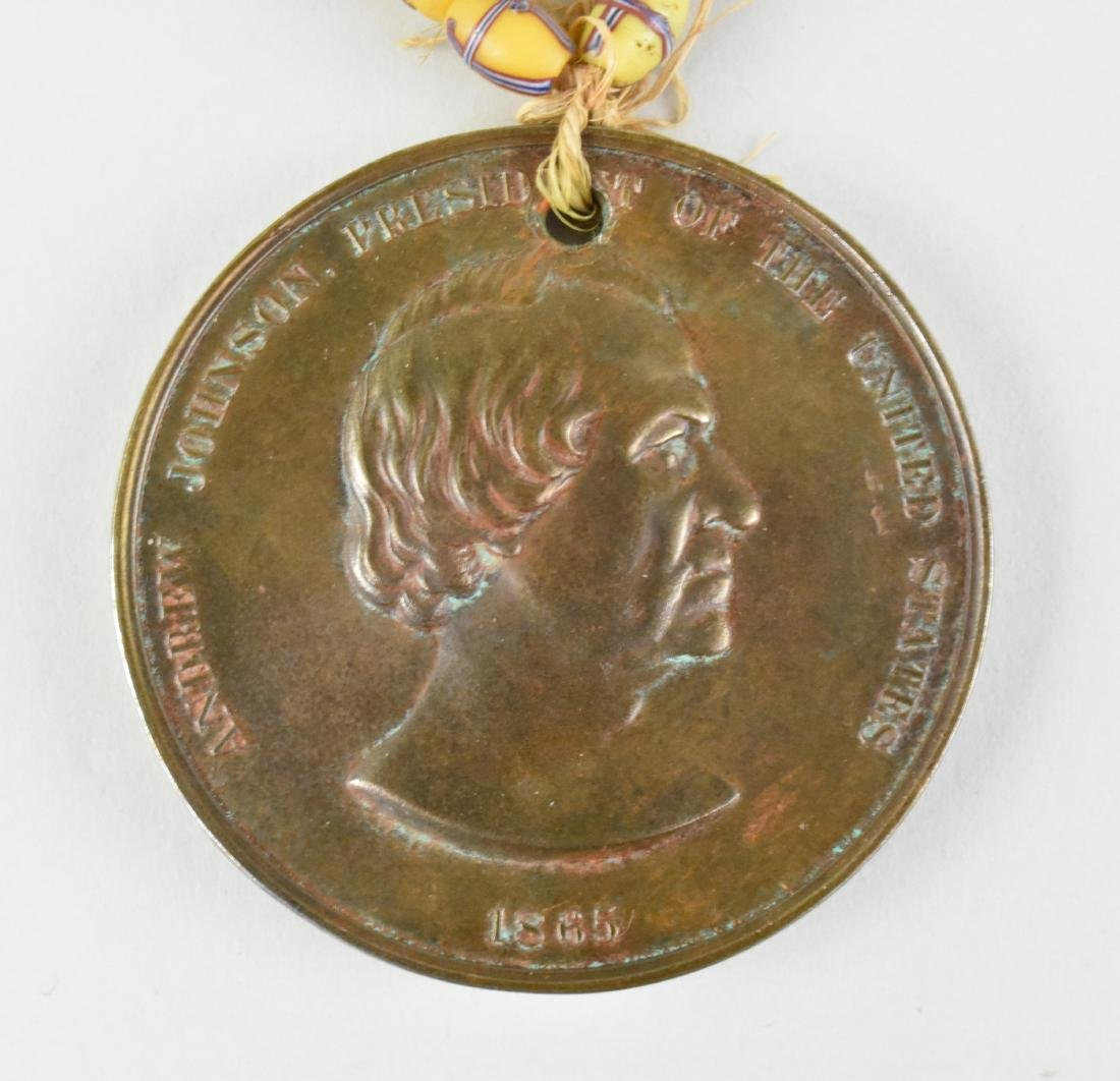 ANDREW JOHNSON INDIAN PEACE MEDAL W/ TRADE BEADS - 4