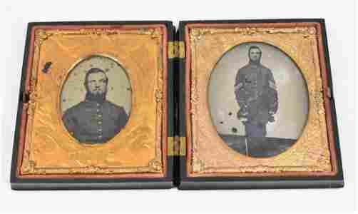 TWO CIVIL WAR ERA DAGUERREOTYPES OF A UNION SOLDIER