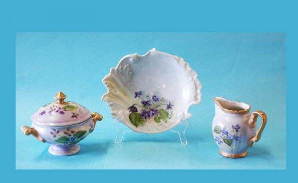 303: 3 pcs  Hand Painted Porcelain  (40/60)