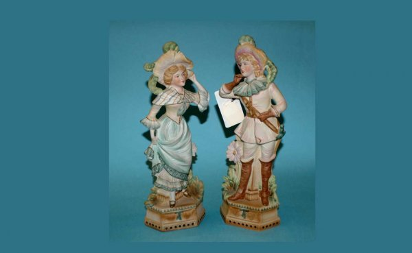 308: Pair Hand Painted Bisque Figures  (40/60)