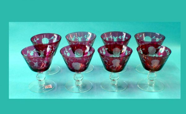 312: 8 Cranberry Etched Glass Sherberts  (40/60)