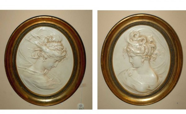 317: Pair Composition Relief Plaques Gilded Frames  (10