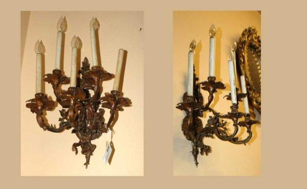 319: Pair Bronze Rococo 5 Light Sconces  (250/350)