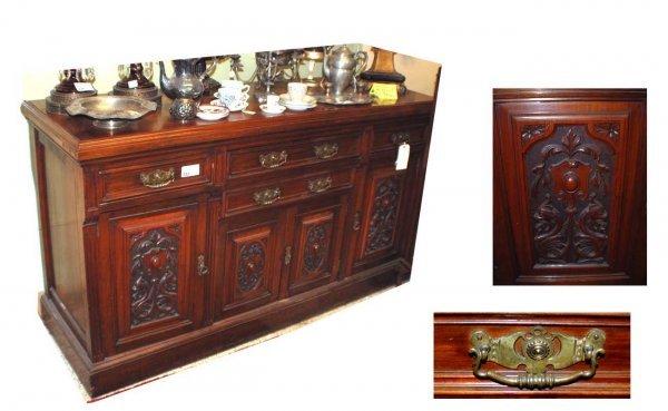 322: English Walnut Carved Sideboard  (1000/1500)