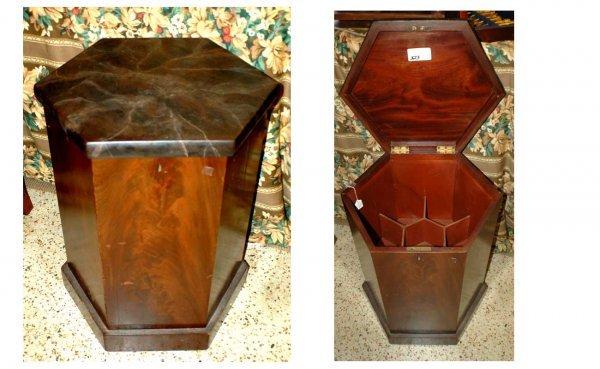 323: Antique Mahogany Hexagonal Lift Top Cellerette  (4