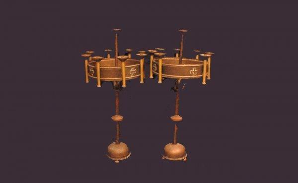 338: Pair Brass Church Altar Candelabras  (400/600)