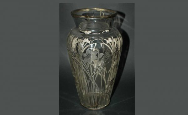 1001: American Sterling Silver Overlay Glass Vase With
