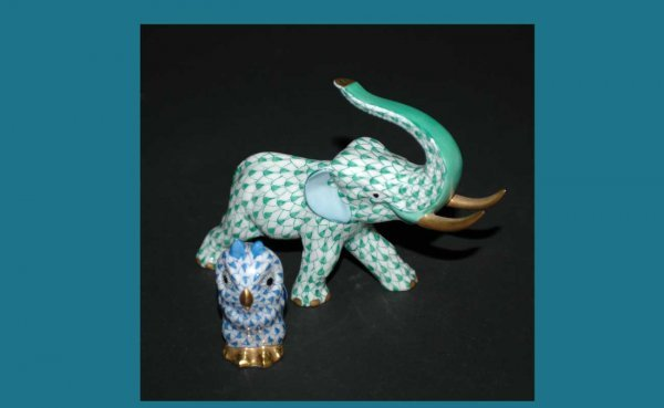 1008: Two Herend Hand Painted Fishnet Design Figural In