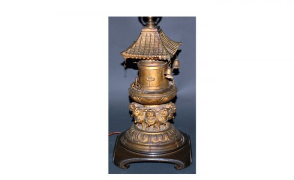 1020: Metal Table Lamp in Oriental Style  with Eight St