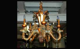1036: 5 Arm Composition Chandelier with Camels Mounted