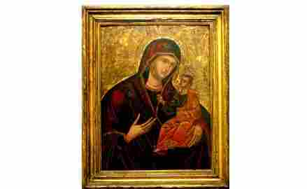 1112: 18th-Century Russian Madonna and Child Painting.