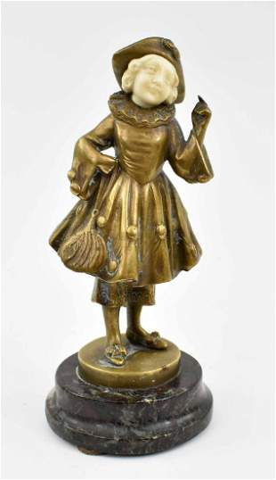 AUSTRIAN ART DECO BRONZE OF A YOUNG GIRL