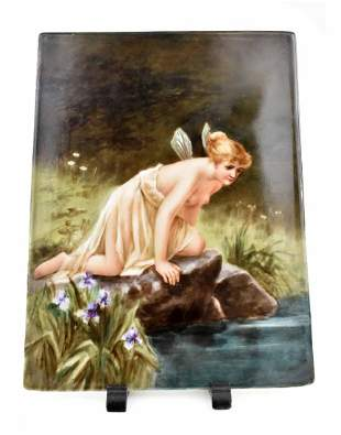 LIMOGES PAINTED PORCELAIN PLAQUE  OF PSYCHE
