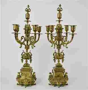 PAIR OF REGENCE STYLE BRASS FIVE-LIGHT CANDELABRA