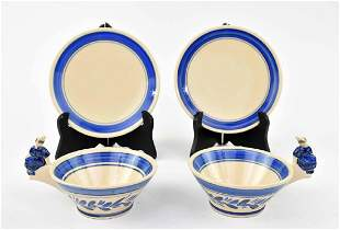 PAIR OF HB QUIMPER FAIENCE CUPS AND SAUCERS