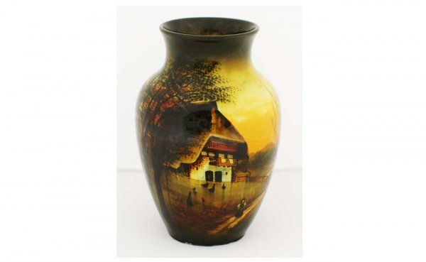 2: German/Austrian Hand Painted Scenic Pottery Vase wit