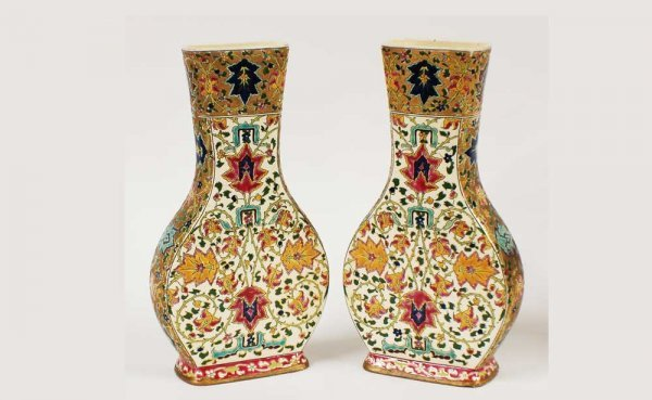 6: Pair Fischer Budapest Hungarian Pottery Urn Shaped V