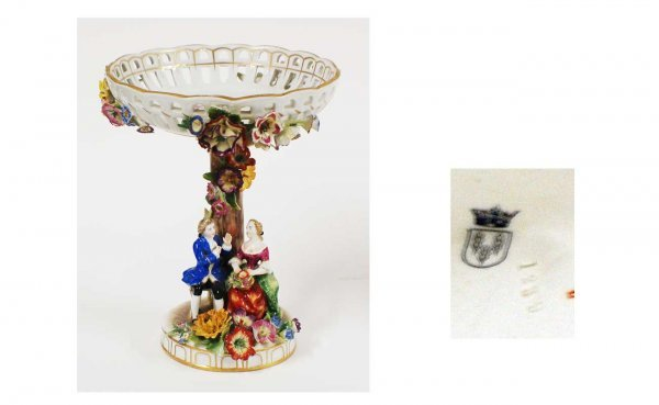 9: Antique Continental Porcelain Open Compote with 18th