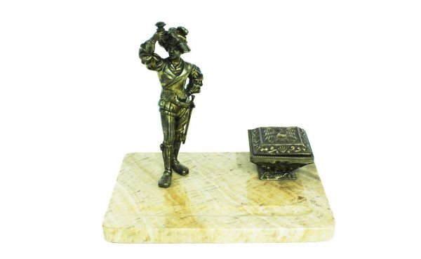 12: Marble Inkstand with Bronze Continental Swordsman i
